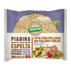 WHOLE SPELT 50% PIADINA WITH FLAX AND POPPY SEEDS BIOCOP 225 G